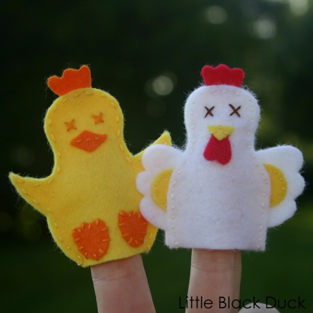 Hen and Chick FInger Puppets in Action