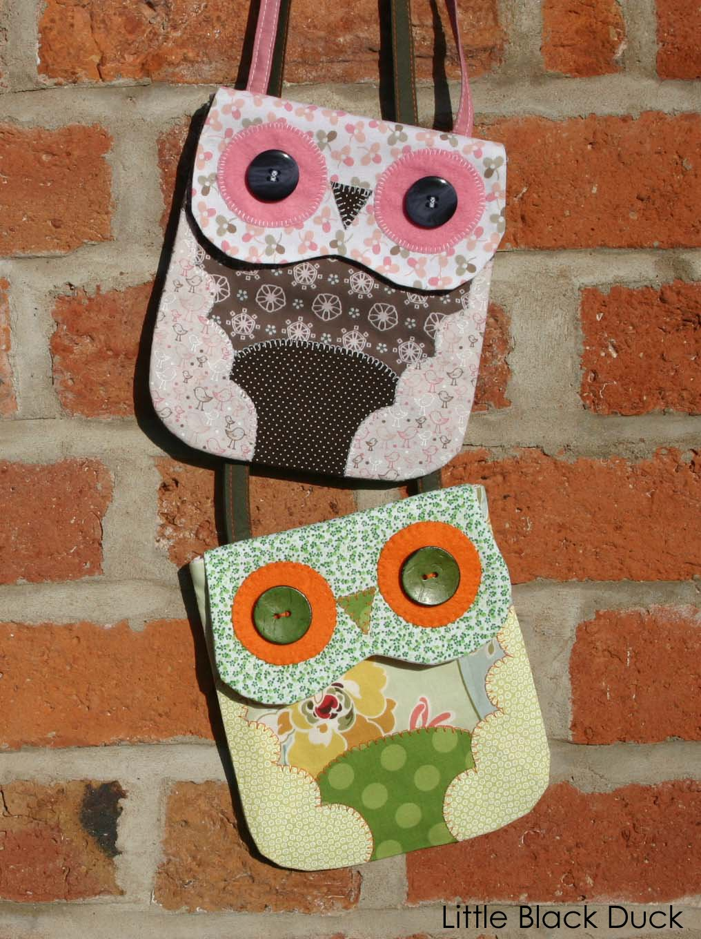 Owl mini bag pdf pattern little black duck pair of owls bags bankloansurffo Image collections