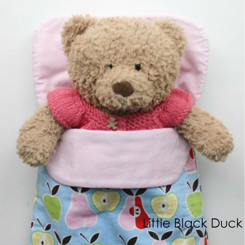 Doll and Teddy Sleeping Bag Pattern - Victoria Peat - Little Black Duck