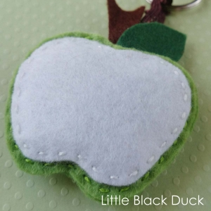 Green Felt Apple Keyring