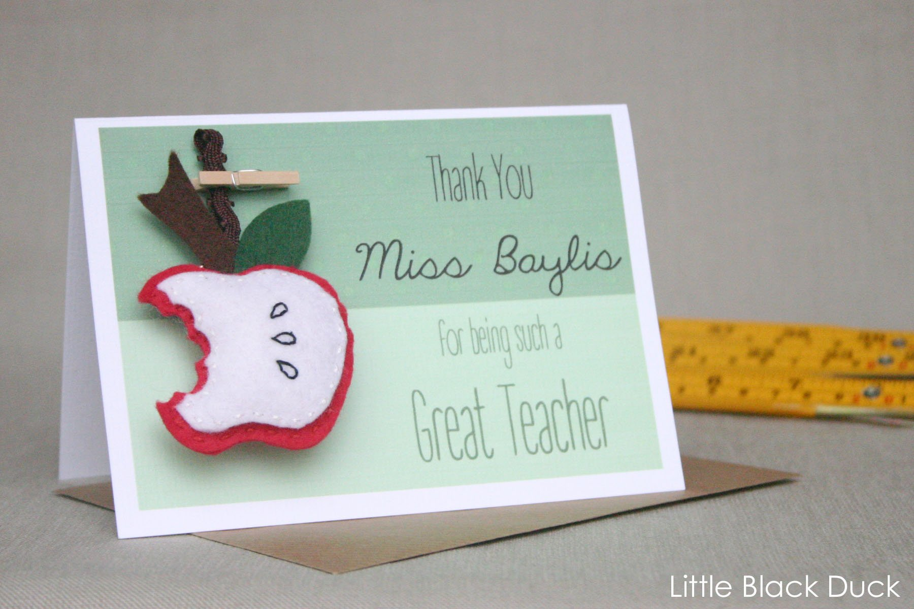 An Apple For The Teacher Personalised Thank You Card And Felt
