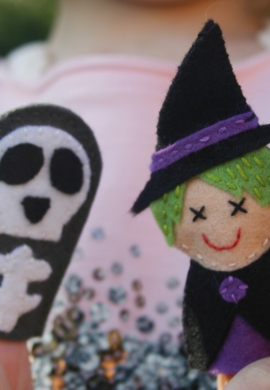 Witch and Skeleton Finger Puppet