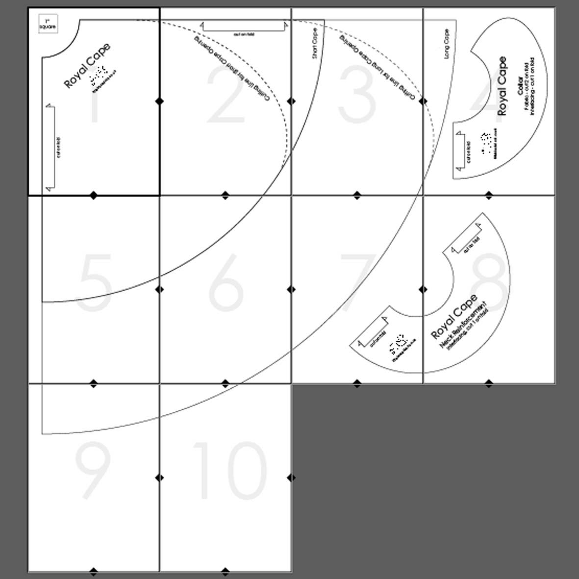 Royal Cape Tiled Pattern Pieces Layout