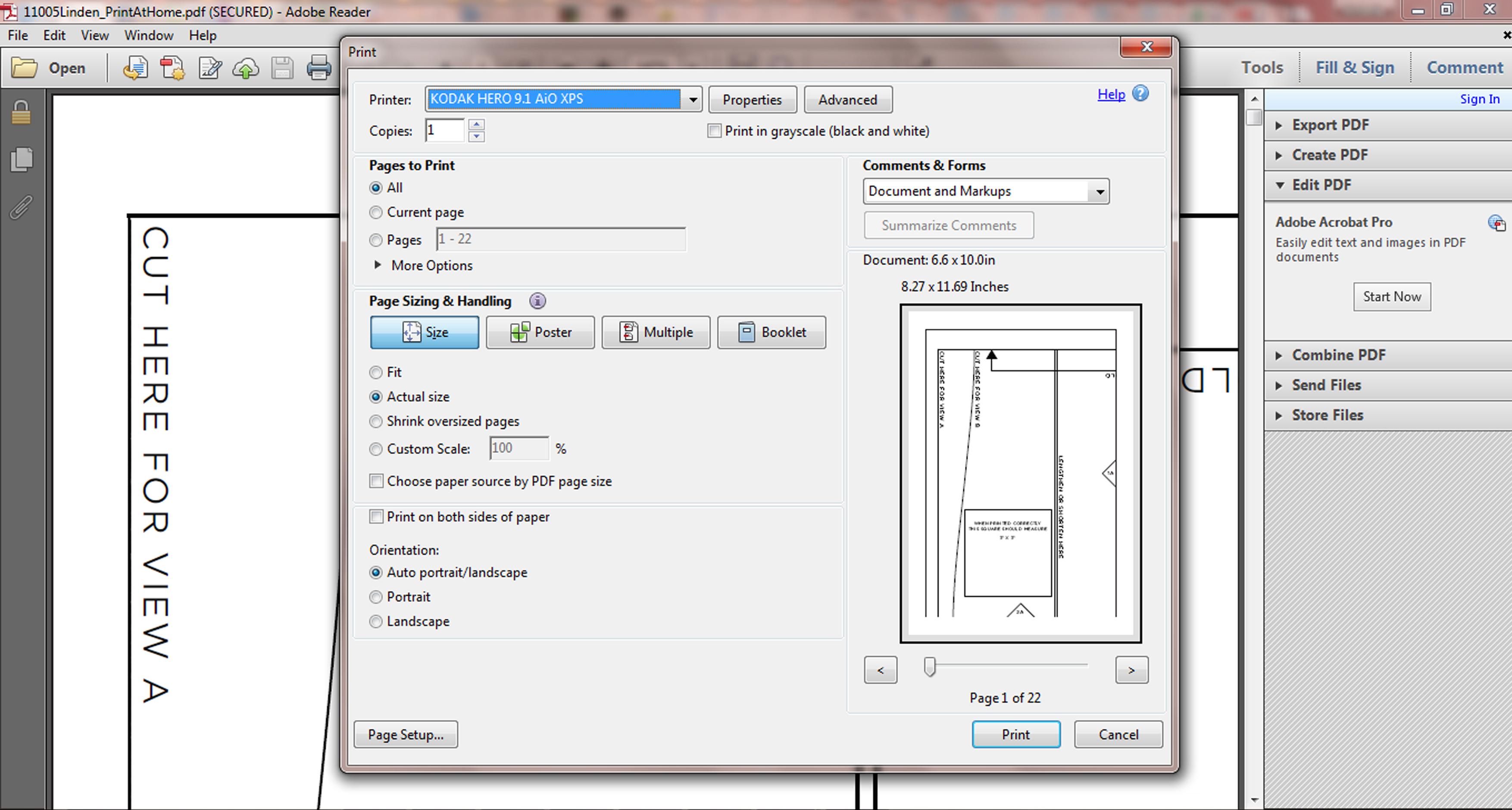 Print pdf patterns actual size