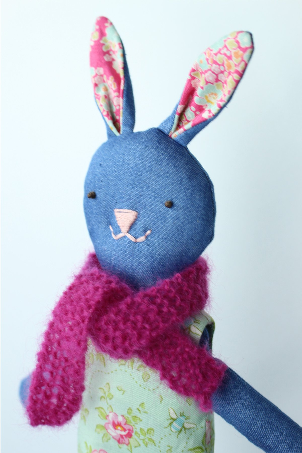 Tilda Bunny in knitted scarf