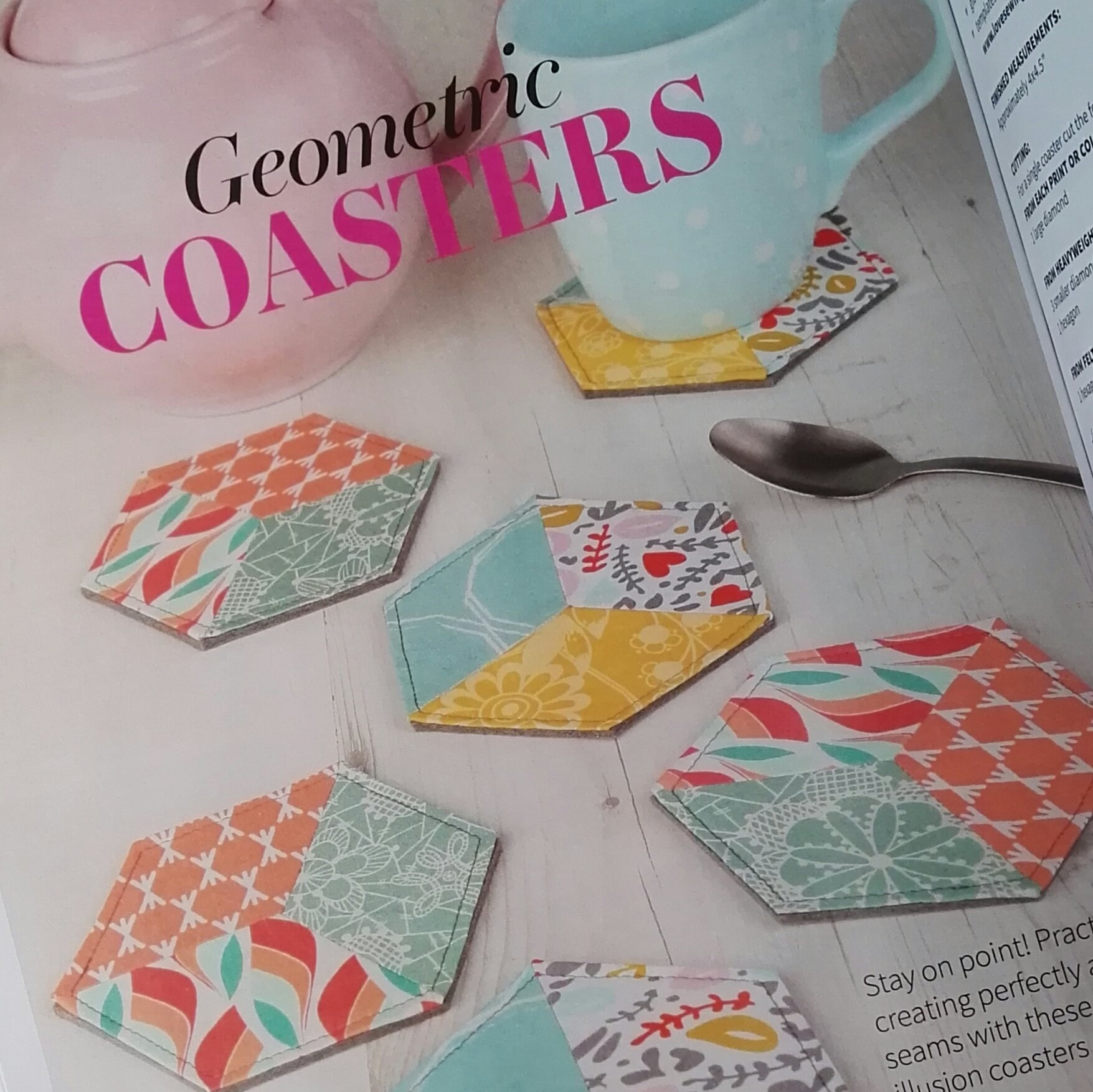 Geometric Pieced Coasters for Love Sewing issue 36