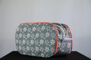 Grey Floral Pebble Wash Bag by Elizabeth Holt