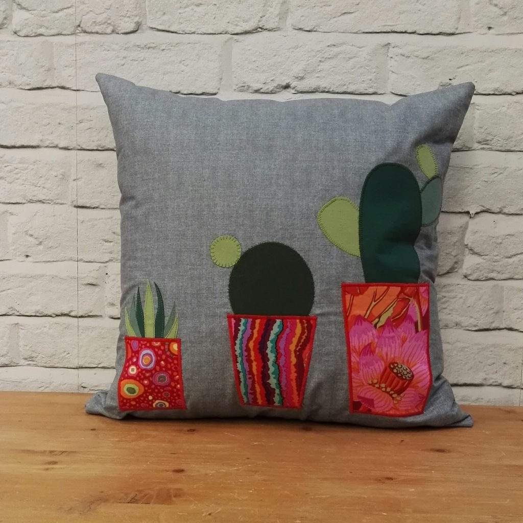 Cactus Applique Cushion for the Sewing Quarter