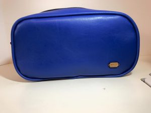 Blue Leather Pebble Wash Bag by Mucilia Macon