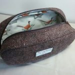Harris Tweed Pheasant Lined Pebble Wash Bag by Susan Hewitt