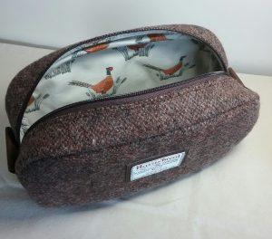 Harris Tweed Pheasant Lined Pebble Wash Bag by Susan Hewitt