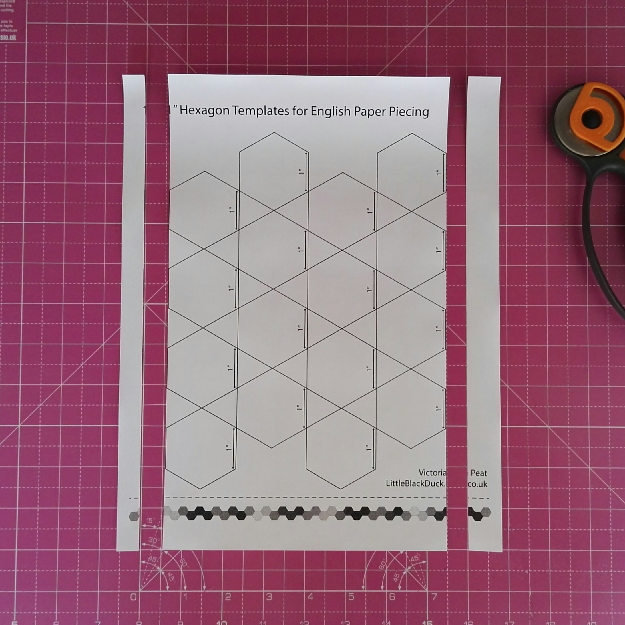 Trim the sides of the hexies printable