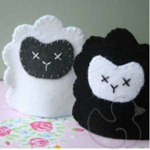 Pair of sheep finger puppets