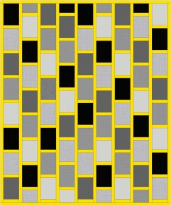 Monochrome and Yellow Brick Quilt