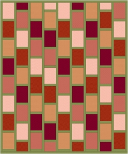 Red and Green Brick Quilt