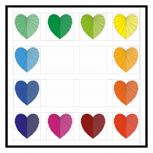 Two Tone Facets of the Heart Rainbow Quilt