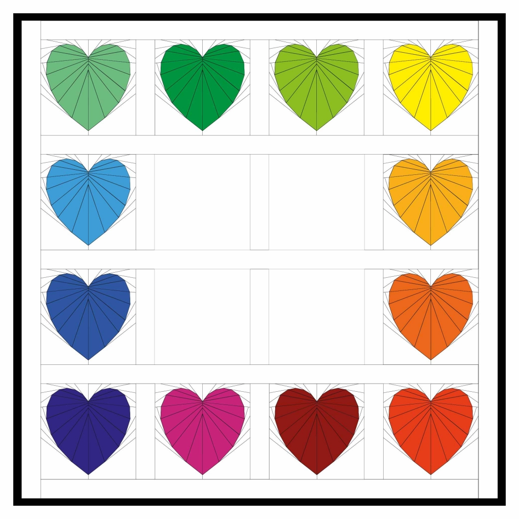 Rainbow Heart Quilt Layout