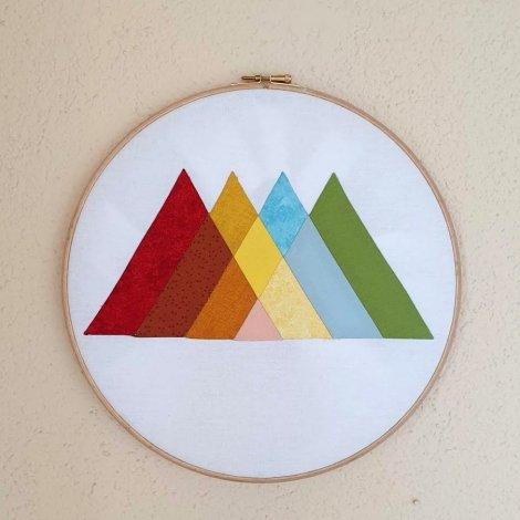Rainbow Mountain EPP Hoop Art