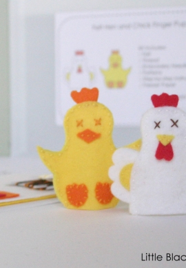 Hen and Chick Finger Puppet Sewing Kit