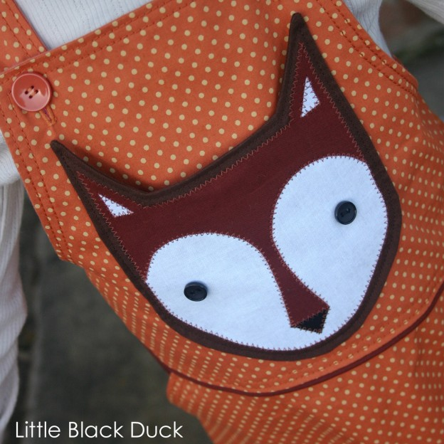 Applique Fox Pocket on orange dress