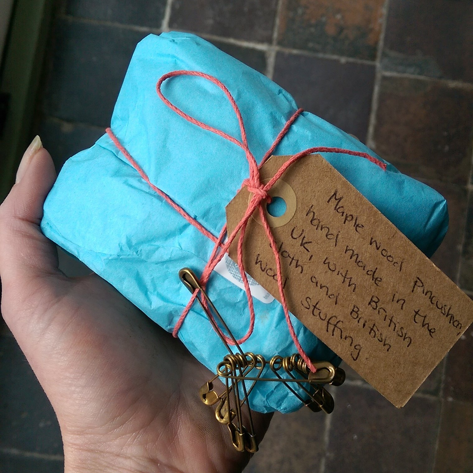 Beautifully packaged Wooden Pin Cushion from Beyond Measure