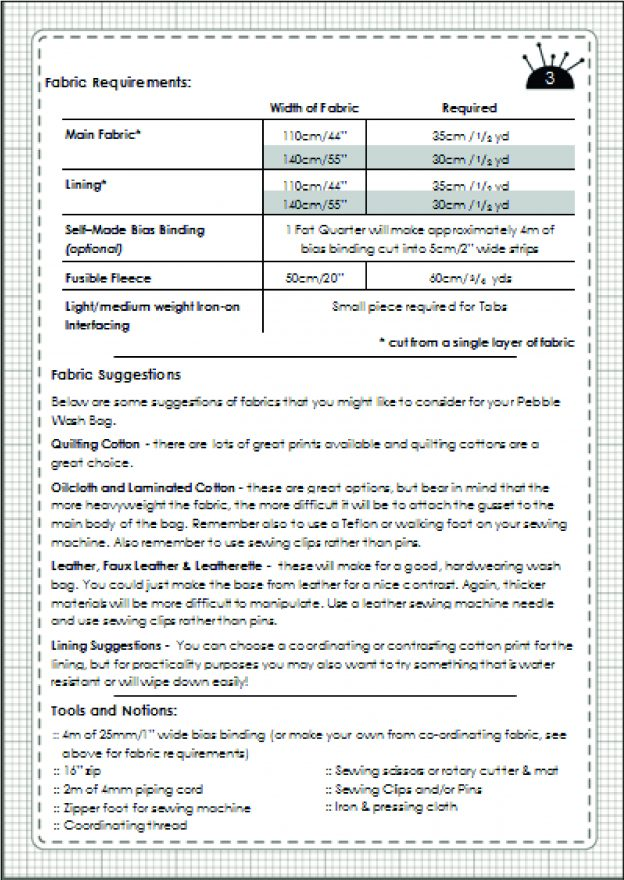 Pebble Wash Bag Fabric Requirements