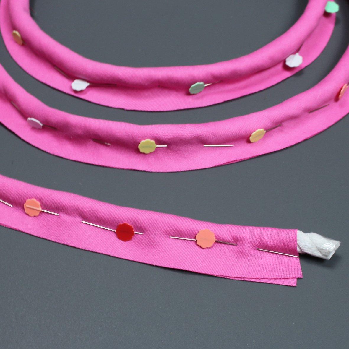 Wrap bias around piping cord