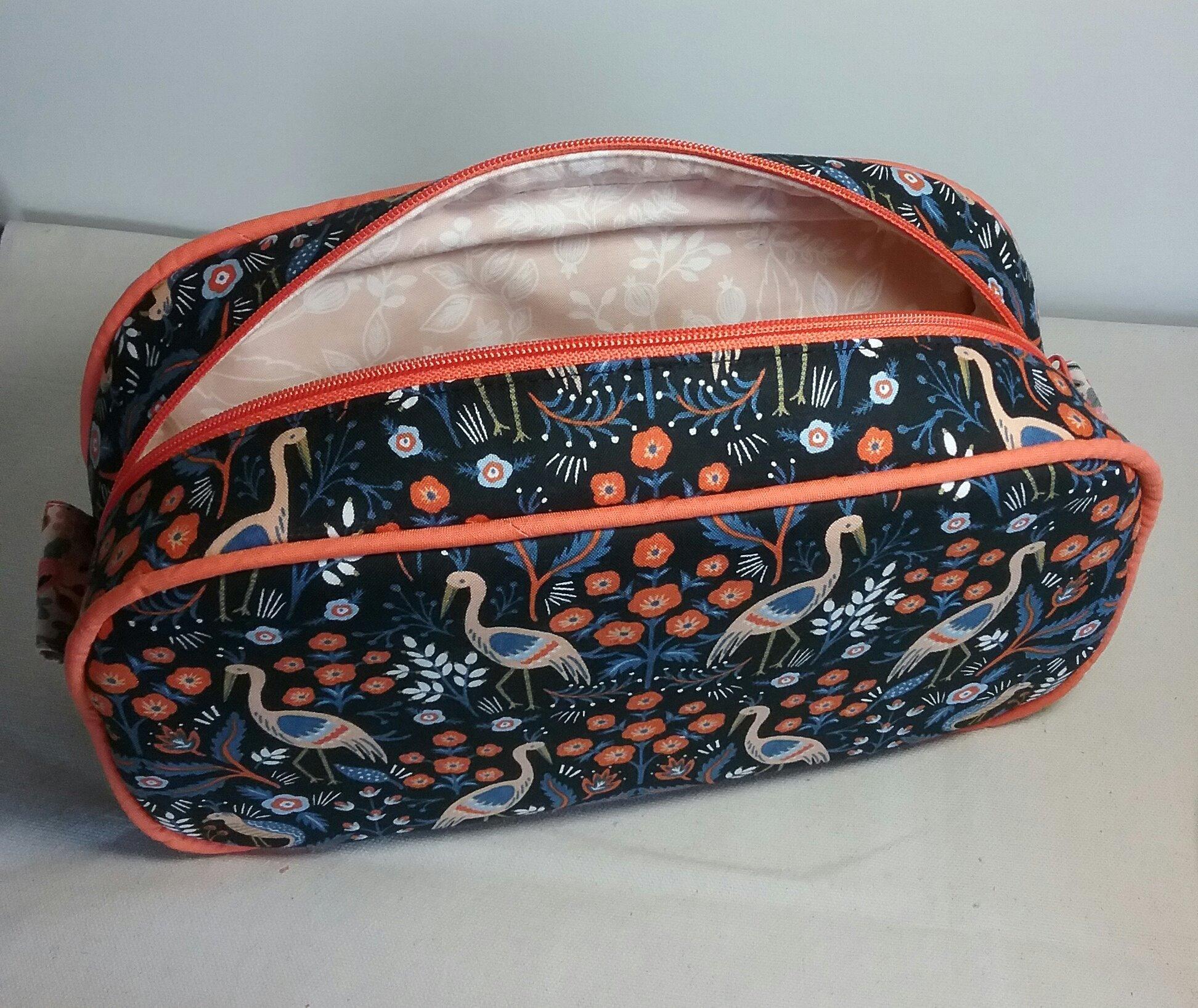 Heron Print Pebble Wash Bag Lining Detail by Susan Hewitt
