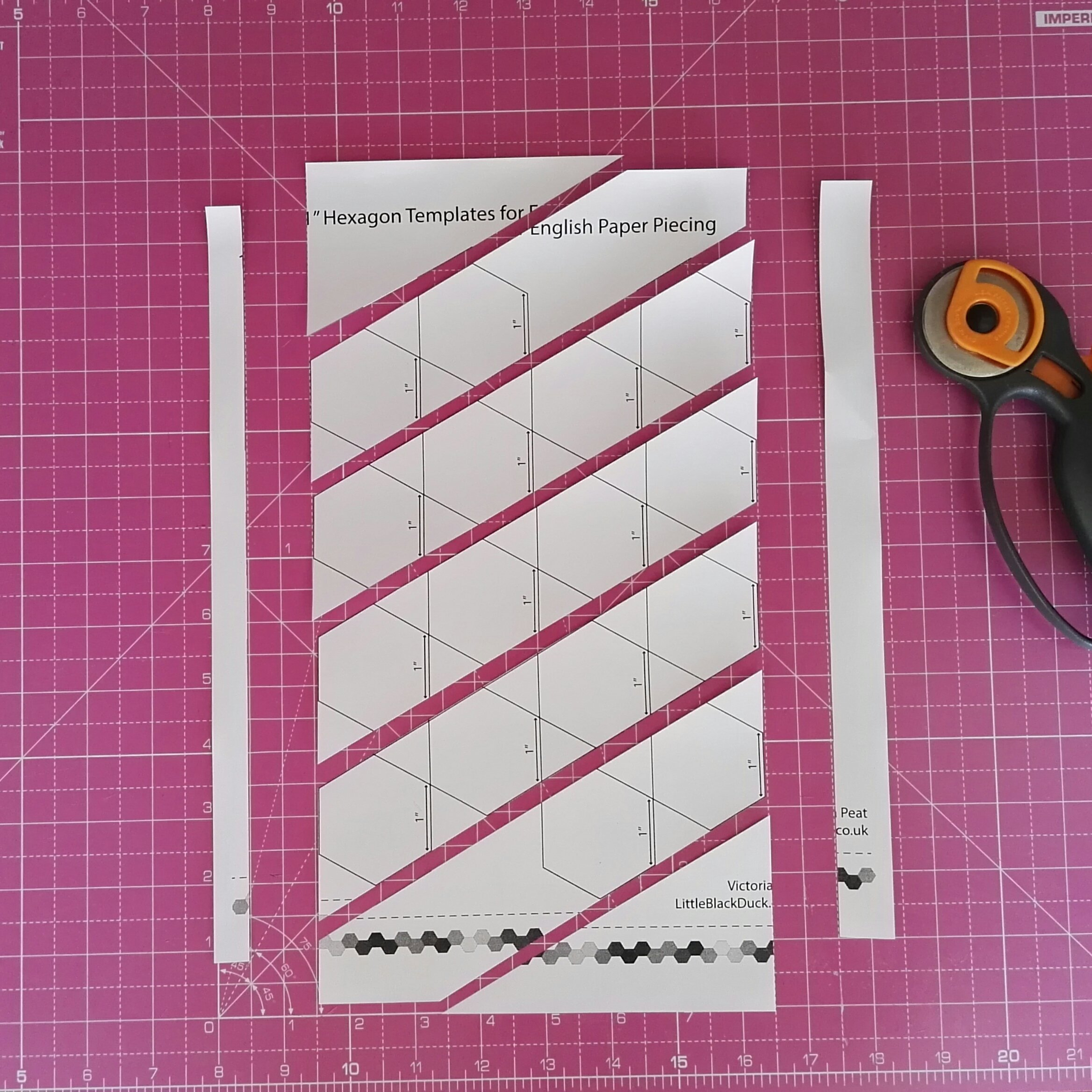 Cut your hexies template diagonally