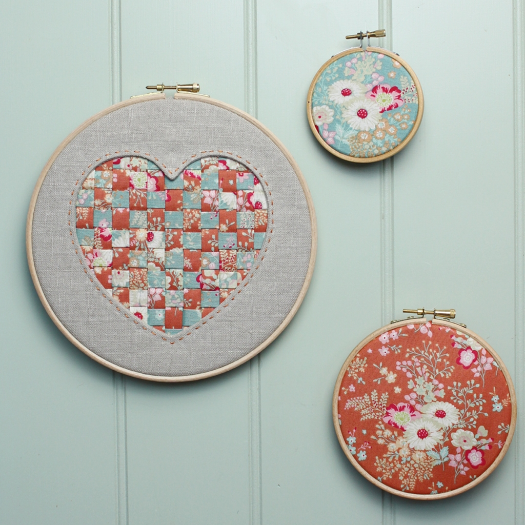 Reverse Applique Tilda Hanging Heart Hoop Art