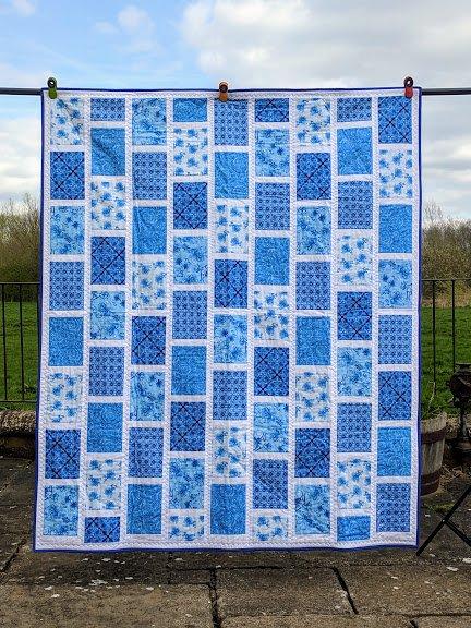 Delft Inspired Blue Brick Quilt