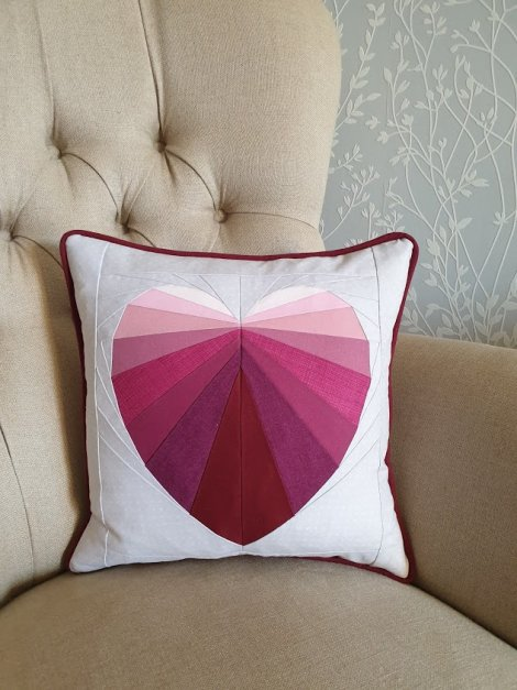 Ombre Pink Facets of the Heart Cushion with piping Victoria Peat
