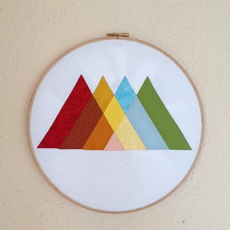 Rainbow Mountain EPP Hoop Art