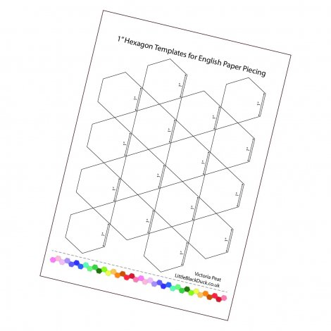 1 inch Hexies Printable Sample Page