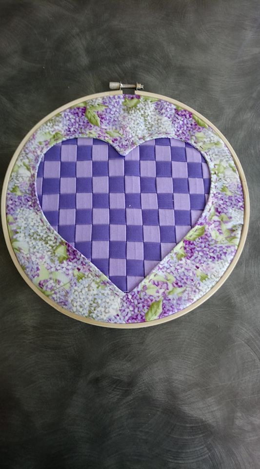 Sue Burbidge Reverse Applique Heart Purple