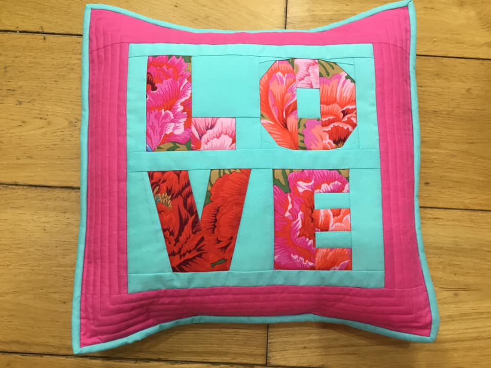 Andrea Finlay LOVE fpp completed cushion
