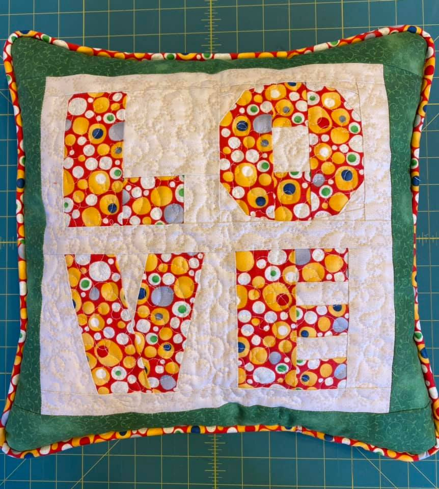 Jolene Corkill Mason LOVE FPP Cushion with yellow piping