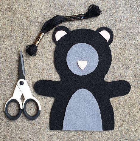 Bear Hand Puppet Felt Shapes