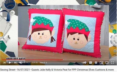 Christmas Elf Cushions on Sewing Street