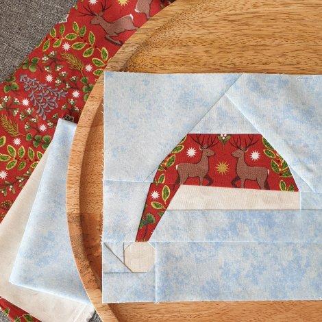 Santa Hat Block in festive fabric